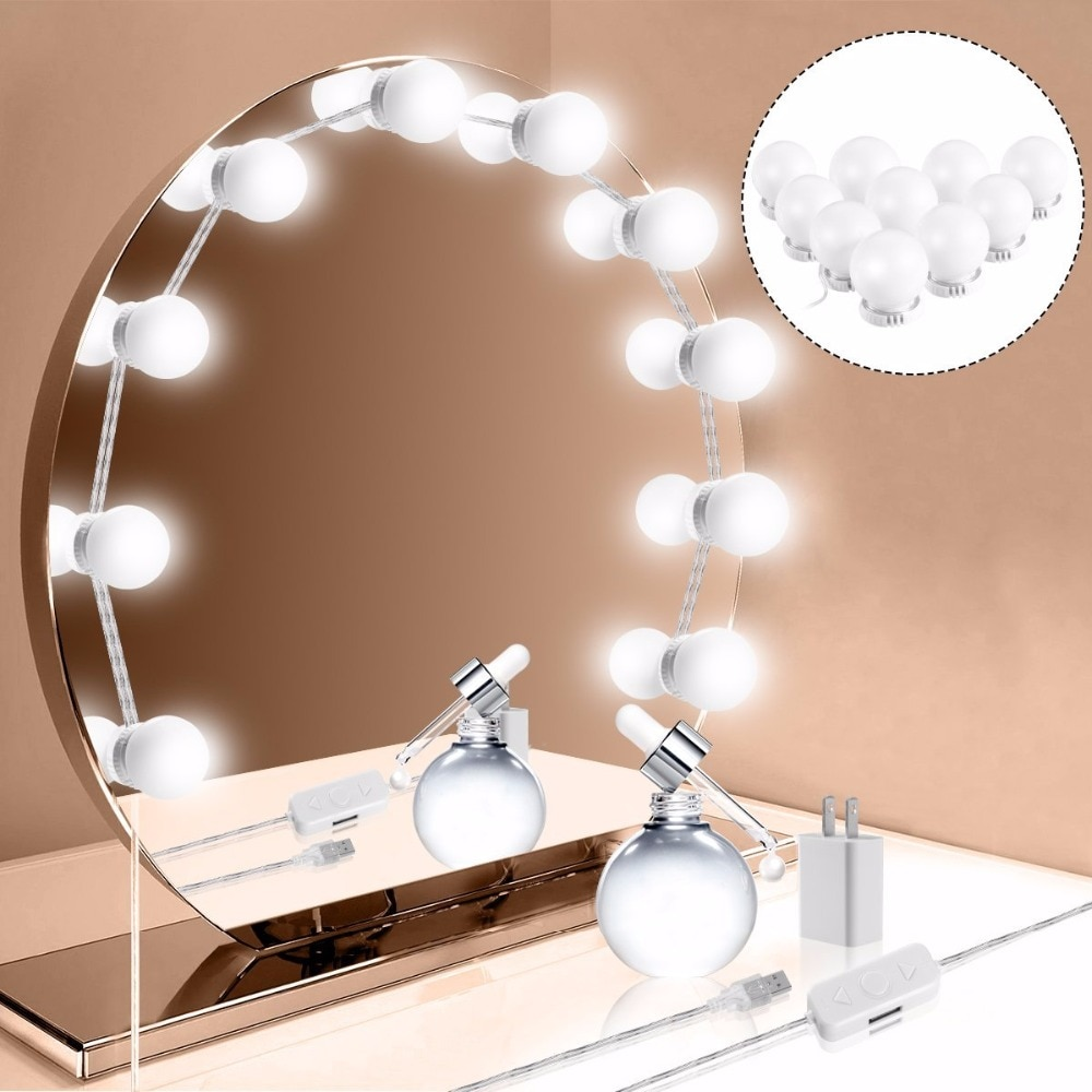 Kit de luces LED para tocador espejo de maquillaje de estilo Hollywood con 10 bombillas LED regulables, decoración inteligente impermeable para tocador de baño
