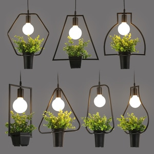 Nordic wrought iron clothing store restaurant bar table plant decorative geometric chandeliers