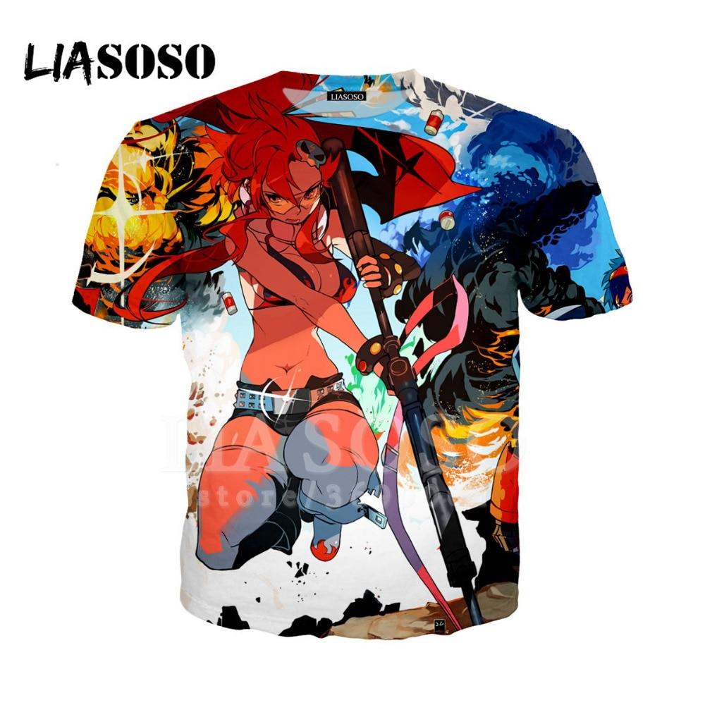 LIASOSO 3D imprimir mujeres hombres Anime Tengen Toppa gurren-lagann Sexy Girl camiseta verano camiseta Hip Hop Pullover manga corta X1196