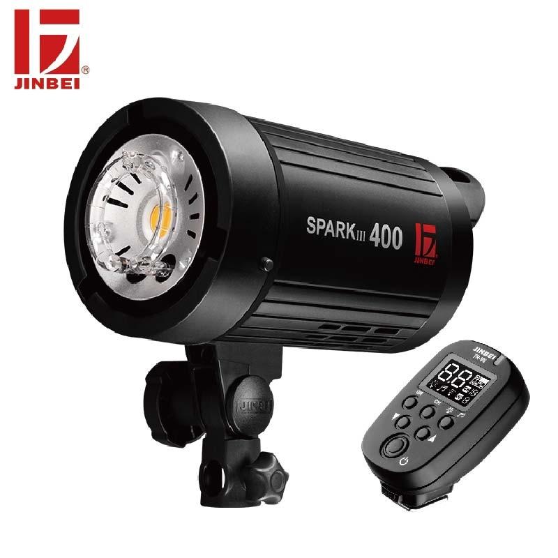 JINBEI SparkIII-400 400W Flash estroboscópico portátil GN66 con receptor inalámbrico incorporado LED lámpara de modelado Estudio de boda comercial