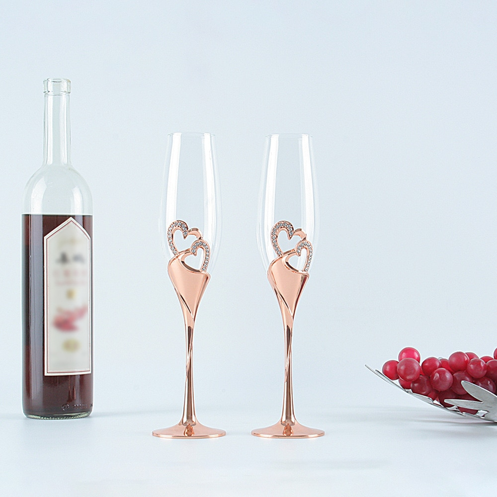 201-300 ml Rose Gold Champagne Cup High Foot 1PC  Glass Wedding decoration for Core-Shaped Diamond Crystal Red Wine