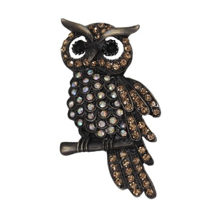 10pcs/lot Coffee Color  Crystal  Bird Owl Brooch Pin Animal Eagle Brooches Brooch For Men