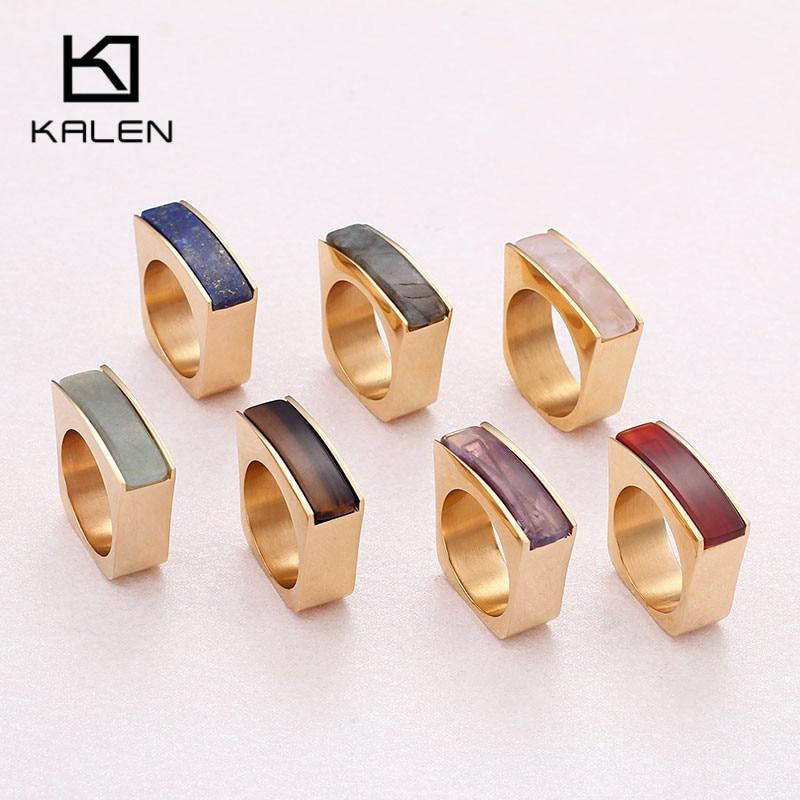 Anillos KALEN Peru Lima de acero inoxidable dorado para mujer, anillos de dedo étnicos marrones económicos, tamaño 6 7 8 9 anillos, regalos de joyería para fiestas