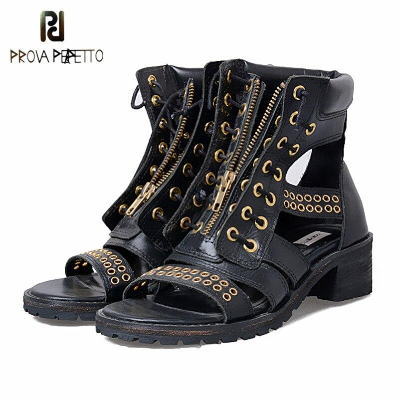 Prova Perfetto, sandalias originales para mujer, cordones de zapatos, remache de cuero Real, Sandalias de tacón medio abiertas, botines de verano con agujeros