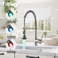 fapully kitchen faucet led light deck mounted brushed spring pull down dual spray spout hot and cold water kitchen mixer tap