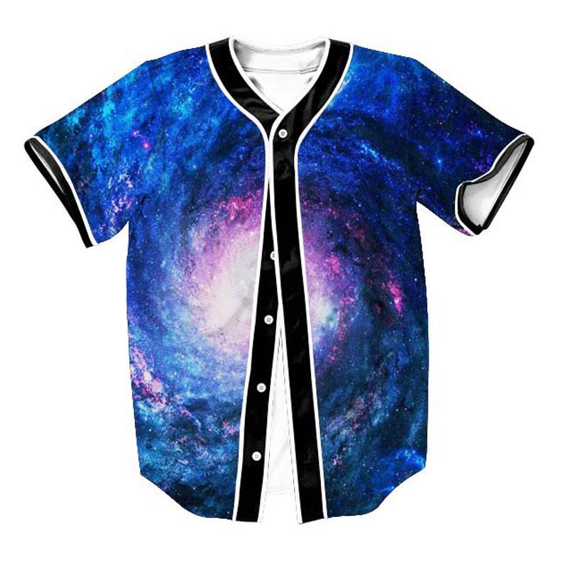 Camiseta con estampado de galaxia espacial para hombre 2020, Jersey Basebal 3D de moda, camiseta informal de béisbol Harajuku, camisetas de Hip Hop para hombre