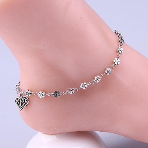 Retro Heart Female Anklets Flowers Barefoot Sandals Beach Anklet Chain Foot Jewelry Ankle Bracelets For Women Leg Bracelet