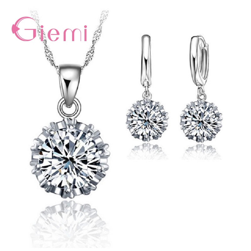 Hot Sell Jewelry Set For women 925 Sterling Silver Pendant Necklace Hoop earring With Shiny Cubic Zirconia Charm Gift superwear 925 sterling silver hoop earrings with charm yellow gold color women men round coin pendant earring vintage jewelry