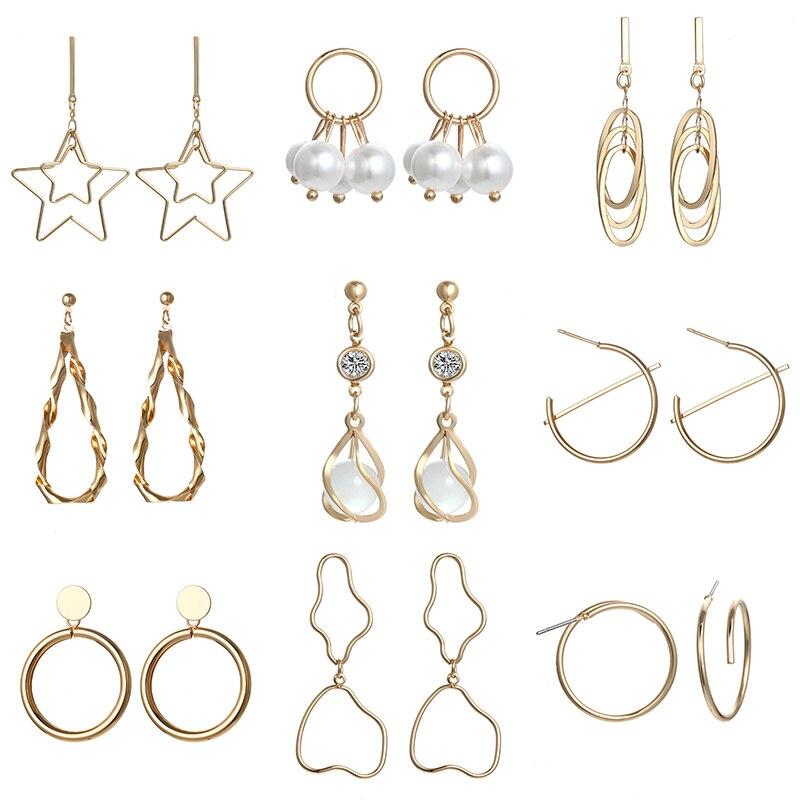 Gold color mental earrings simple geometric drop earrings fashion earrings women jewelry for party g