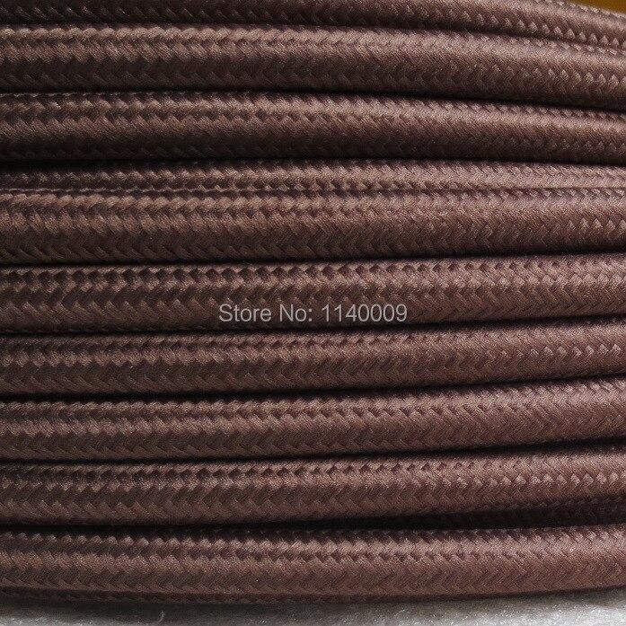 Color marrón 3 núcleos 0.75mm2 lámpara Edison cable trenzado de color cable eléctrico trenzado cable de enchufe vintage lámpara cable trenzado