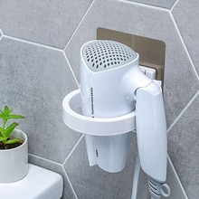 Suporte de secador de cabelo fixado na parede de alta qualidade abs prateleira do banheiro armazenamento titular rack organizador para o dia do secador de cabelo. 8.9 centímetros