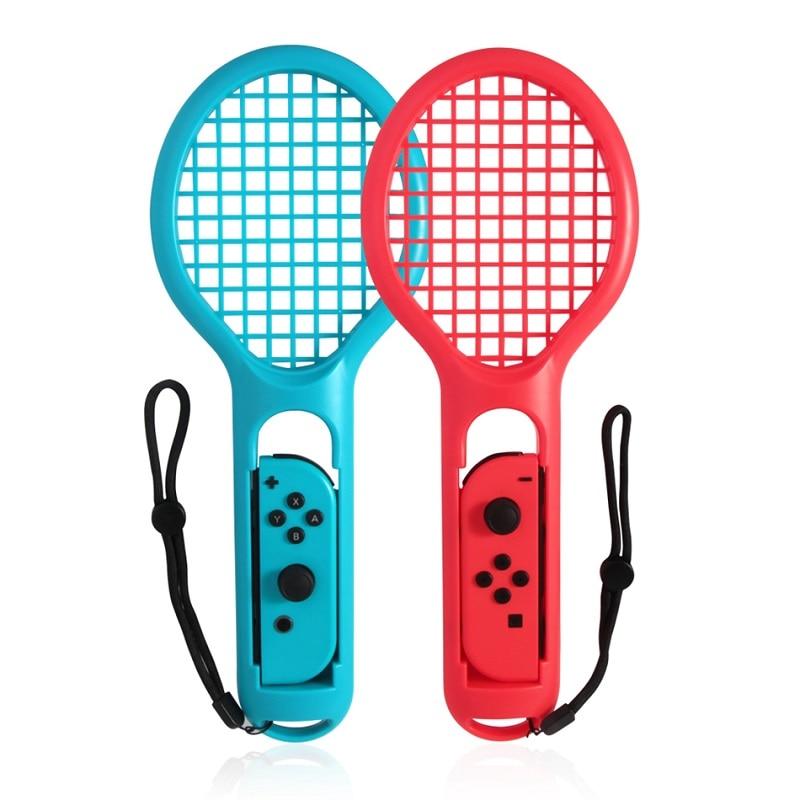 Para Nintendo Switch NS, tenis, ACE, jugador para Nintendo Switch, Joy-con mango de la raqueta de tenis de ABS, soporte con 2 calcomanías de juego