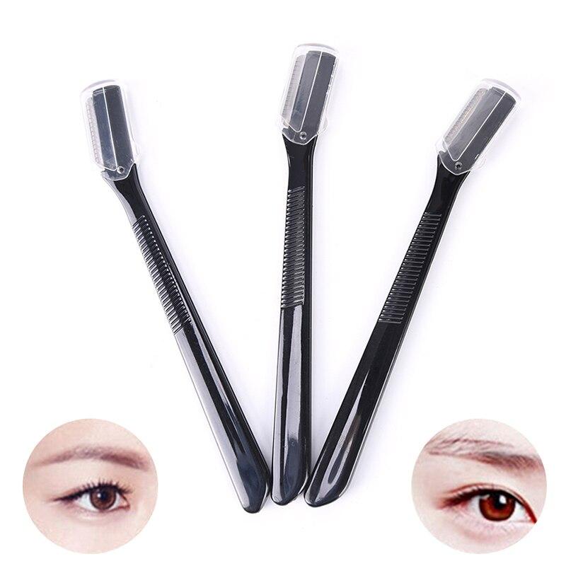 3PCS/Set Black Mini Eyebrow Trimmer Safe Shaving Razors Small Size Blade Women Face Care Hair Remova