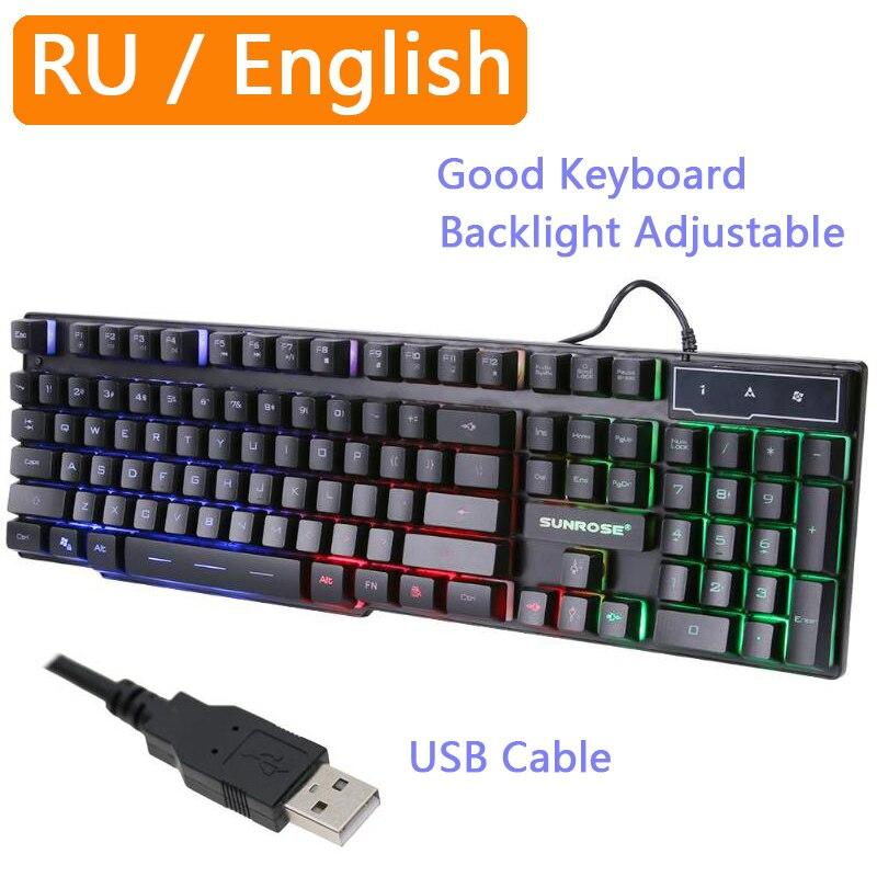 Teclado com luz de fundo rgb à prova dwaterproof água teclados mecânicos sentindo jogo russo gamer pc computador led 104 teclas padrão usb