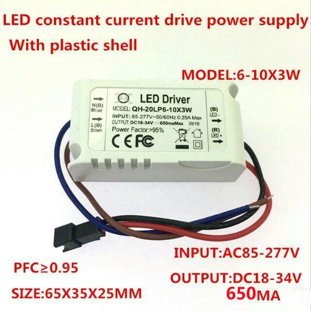 6-10x3w controlador LED de corriente constante... DC18-34V 650ma 6x3w 8x3w 9x3w 10x3w 20W 30w fuente de alimentación para LED downlight Transforme