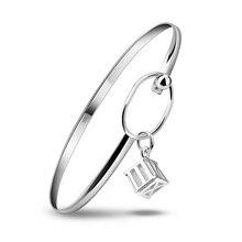 Moda 925 pulseras de plata para niñas pequeñas y lindas pendiente pulsera joyería de dado romano antiguo con estrella grande envío gratis