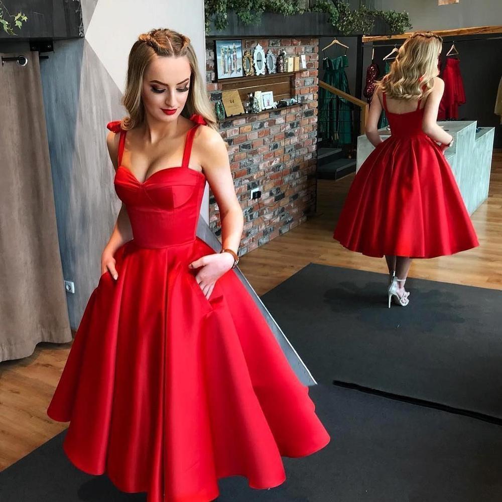 Vestidos Rojos de cóctel 2019 Sexy Spaghetti Correa vestido de baile vestidos de fiesta de tobillo longitud vestido de fiesta Sexy Mujer vestidos de festa