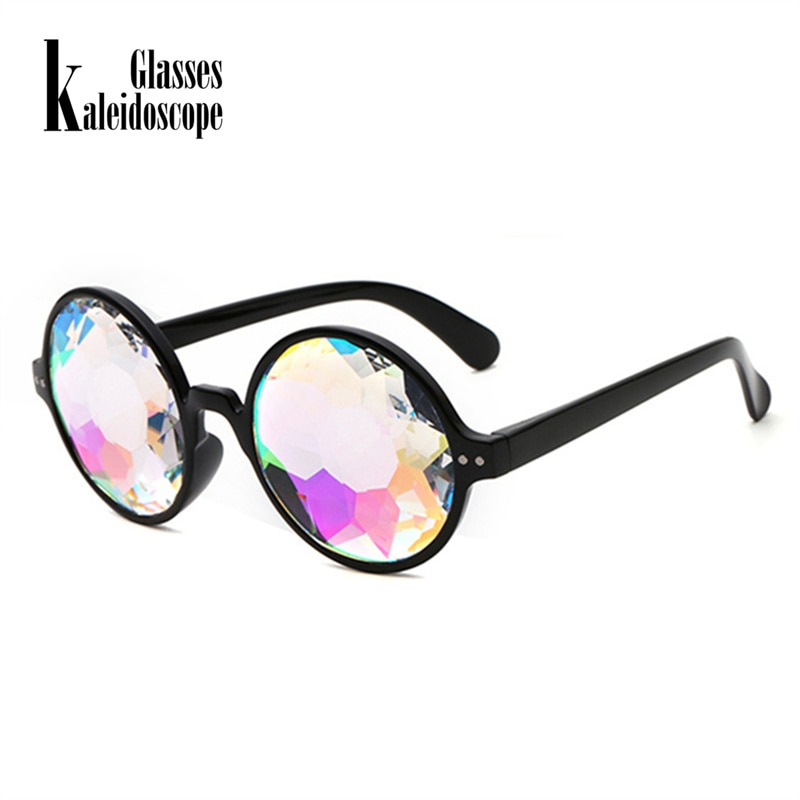 Kaleidoscope Glasses Rave Men Round Kaleidoscope Sunglasses Women Party Psychedelic Prism Diffracted