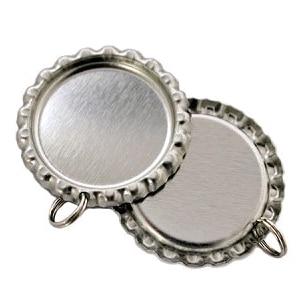 1000 unids/lote de tapas planas plateadas sin liner para manualidades con agujero y anillo tapas de corona en blanco envío gratis por DHL