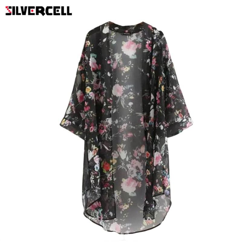 SILVERCELL Women Chiffon Cardigan Flowers Print Long Vintage Half Sleeve Chiffon Bikini cover Up Kimono Cardigan Coat Bathing