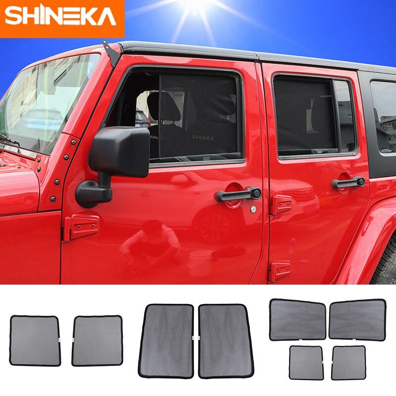 SHINEKA, parasoles de ventana laterales para Jeep wrangler 2007-2017, malla de insecto aislante para wrangler JK, accesorios, parasol de ventana lateral