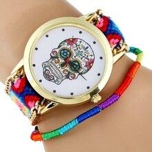 Montre femme crâne mexicain robe femme montre-Bracelet mode Hippie tissu Bracelet squelette reloj dama genève Style