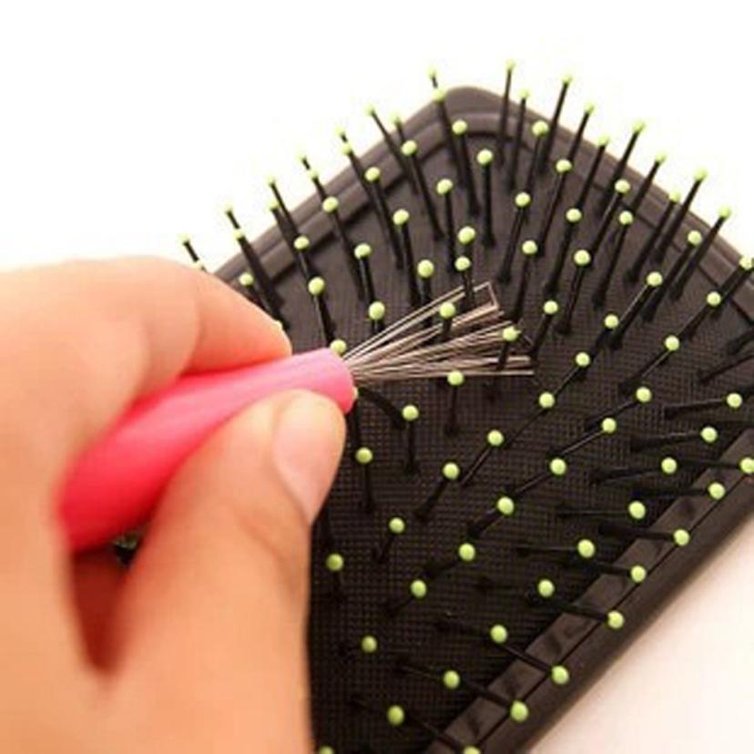 Superventas limpiador para peines incrustado herramienta de limpieza de plástico mango de pelo extraíble cepillo de pelo limpiador para peines accesorios de baño yl