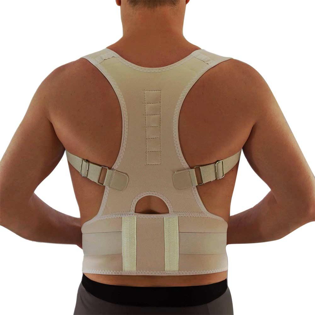 Corrector de postura sentado para hombres y mujeres, faja de hombro ajustable con forma magnética, cinturón de espalda, vértebra, terapia correcta BHD2