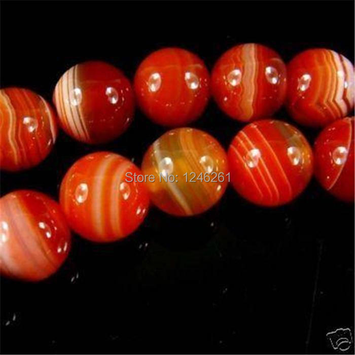 (Pedido mínimo 1) 10mm cuentas de ónix a la moda de rayas rojas cuentas redondas sueltas accesorios piezas 15 pulgadas Natural piedras para hacer joyas diseño