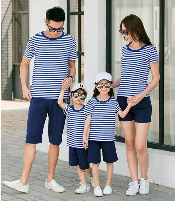 Ropa a juego para la familia, 1 pieza, camiseta azul marino de verano para la playa, trajes de cumpleaños para hija del Día de la madre y padre e hijo