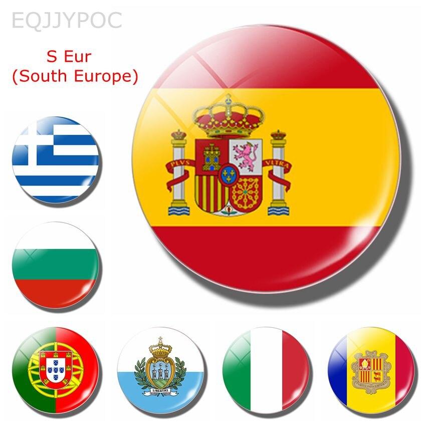 Bandera Nacional de España, imanes para nevera de 30MM, Europa del Sur, Portugal, Italia, Bulgaria, Malta, Macedonia, Croacia, Eslovenia, Croacia