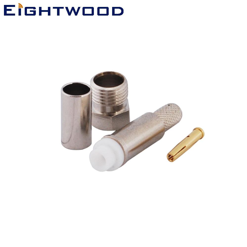 Eightwood 5 uds FME Jack hembra conector Coaxial RF adaptador de crimpado RG-58 LMR-195 Cable de telecomunicaciones inalámbrico