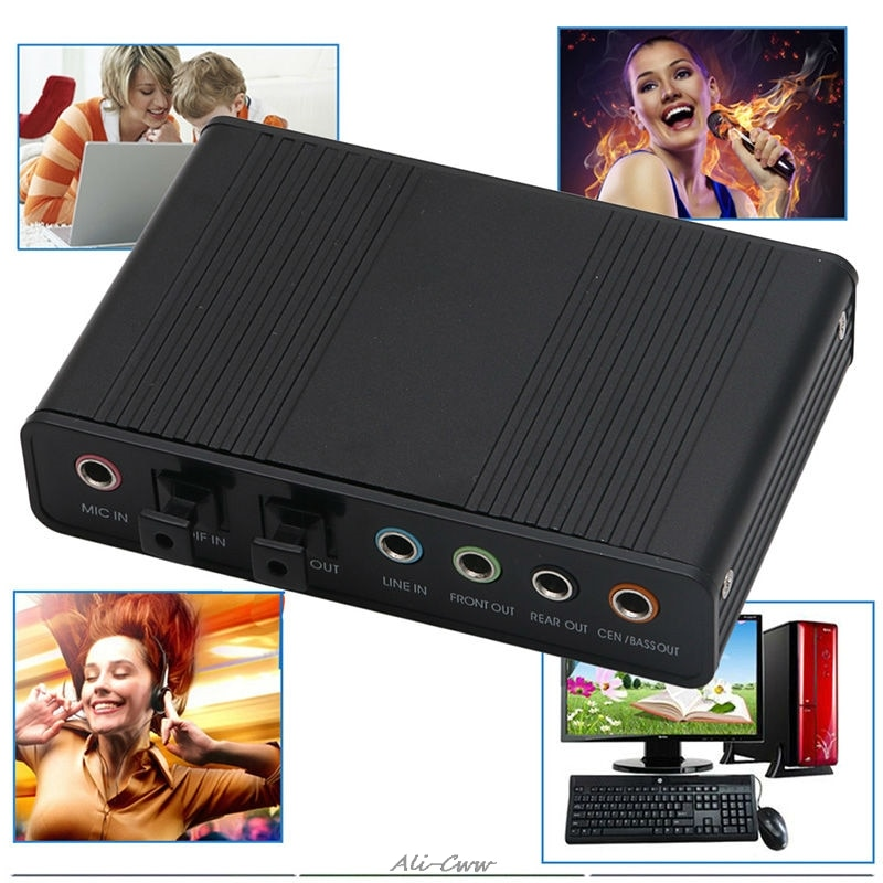 1 Juego de tarjeta de sonido de fibra óptica externa de 5,1 canales USB S/PDIF para ordenador portátil PC