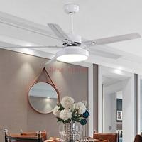 Modern Led white Ceiling Fan 5 Blad esstainless steel Ceiling Fans Lamps With Lights For Living Room home DimmingLED lighting
