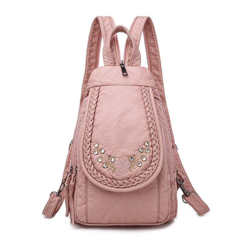 Bordado diamante pequenas mochilas para meninas couro do plutônio multifuncional mochila feminina bolsa de ombro pacote peito bagpack