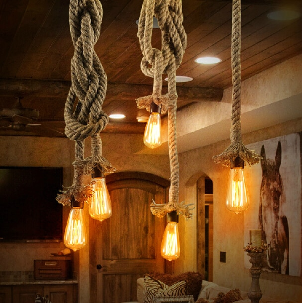 Lámpara de luz colgante Vintage cuerda creativa bombilla Edison lámpara colgante para comedor