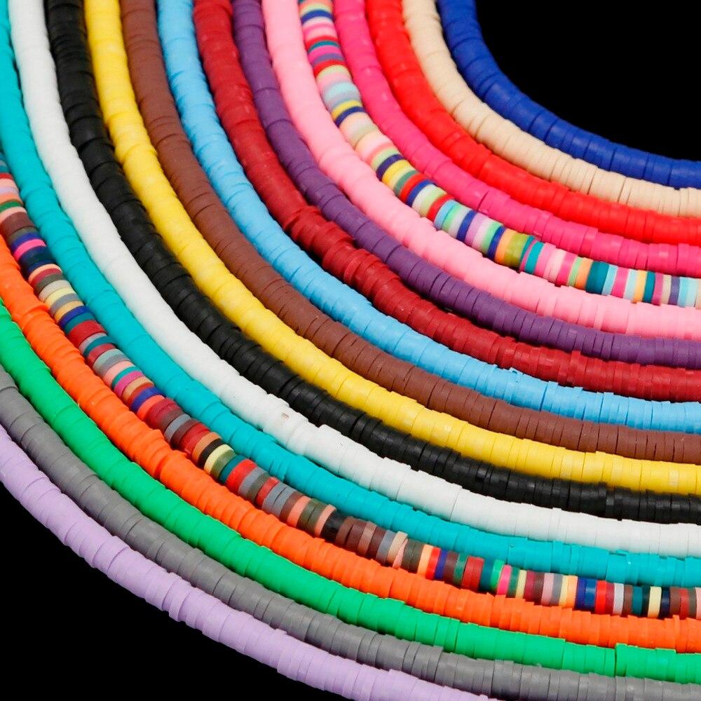 350 stücke Multi farben 3/4/5/6mm Polymer Clay Chip Disk Lose Spacer Scheiben Perlen für DIY Halskette Armband Schmuck Machen
