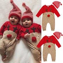 Vêtements pour bébés noël, hiver renne   Barboteuse garçon fille, manches longues, combinaison-pantalon dautomne, chapeau 2 pièces, vêtements de nuit, Costume de fête