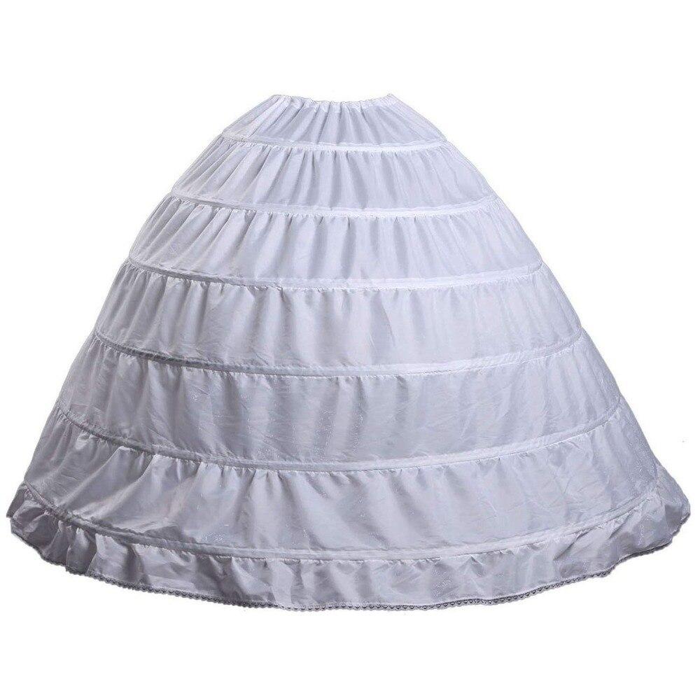 6 aros vestido de fiesta enagua vestidos de bola gasa falda 2019 crinolina bajo accesorios para falda