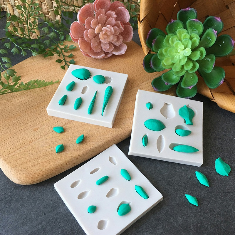 3 unids/set DIY suculenta hoja de silicona molde para hornear cupcakes Fondant decorar goma pasta Moldes herramienta para pastel de azúcar