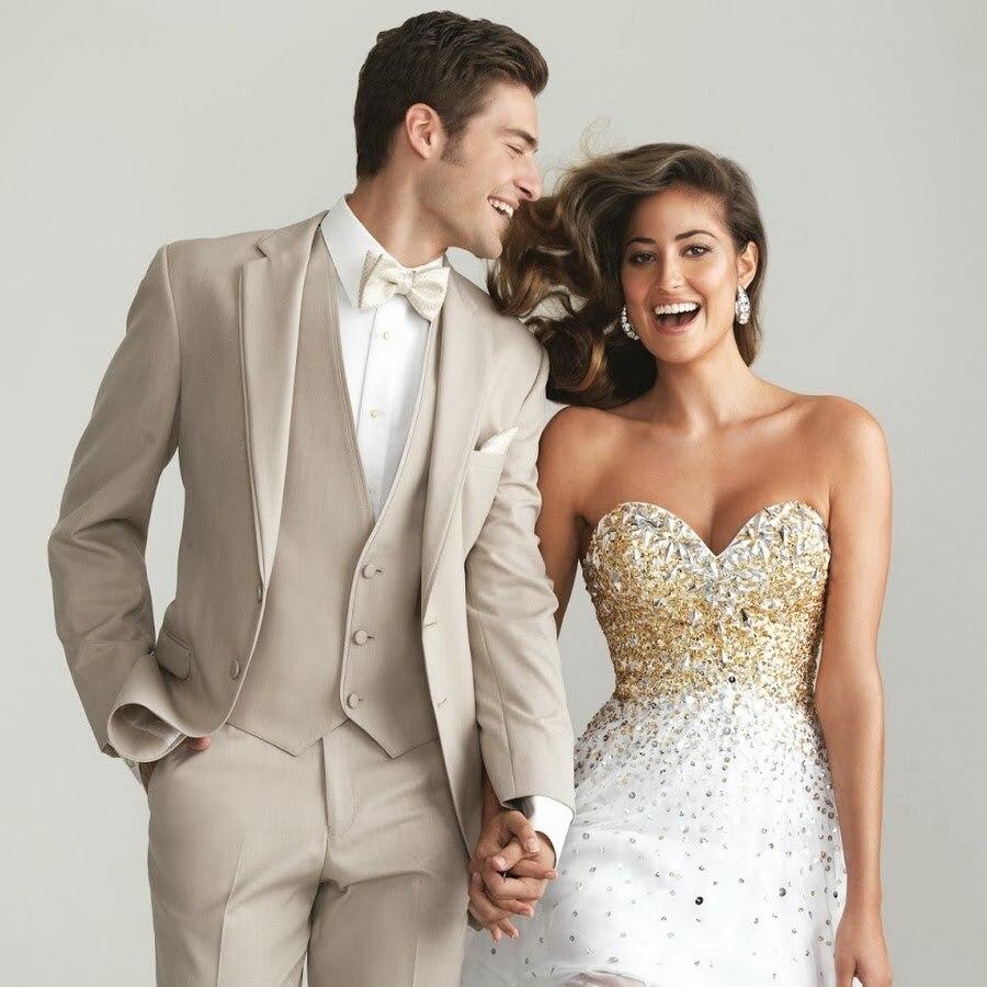 Custom Made Groomsmen Beige Groom Tuxedos Notch Lapel Men Suits Wedding Best Man Blazer ( Jacket+Pants+Tie+Vest ) C403
