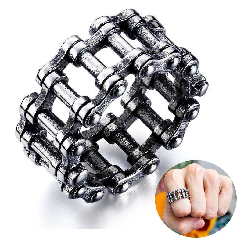 Anillo de acero de titanio para hombre, anillo Punk, anillo creativo de cadena locomotora, anillo para hombre, anillos de boda, regalos para hombres, joyería yezzy