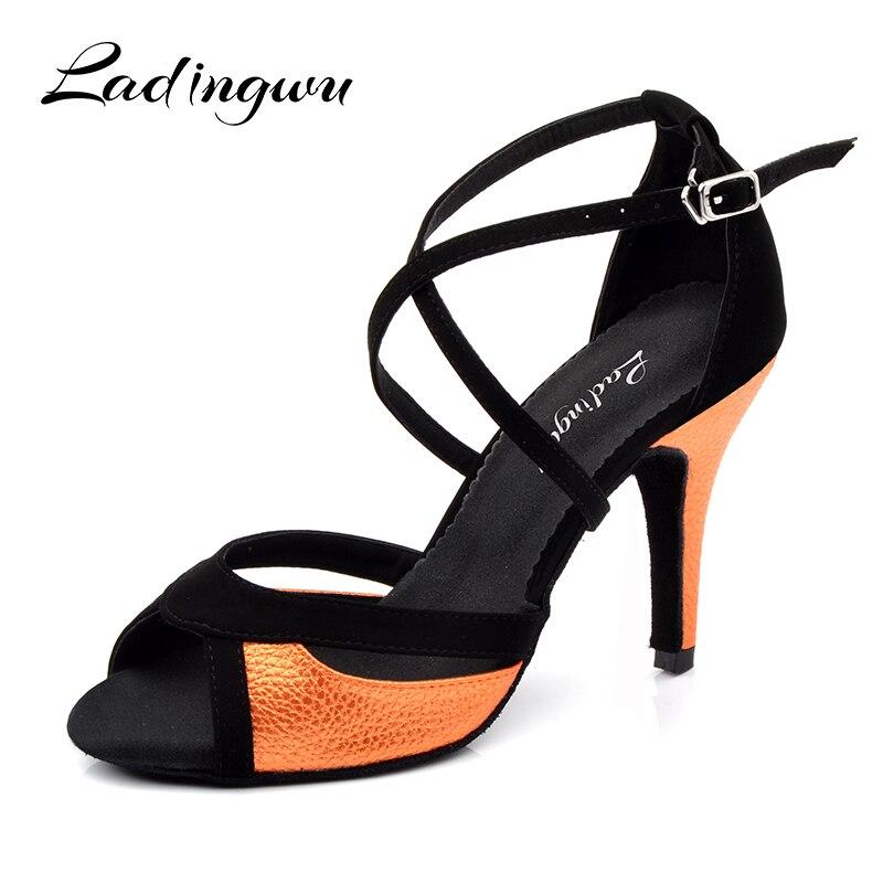 Zapatos de baile Salsa Ladingwu para mujer, zapatos negros de franela y naranja de PU, zapatos de baile latino, sandalias de baile de salón para mujer, tacón de 10cm