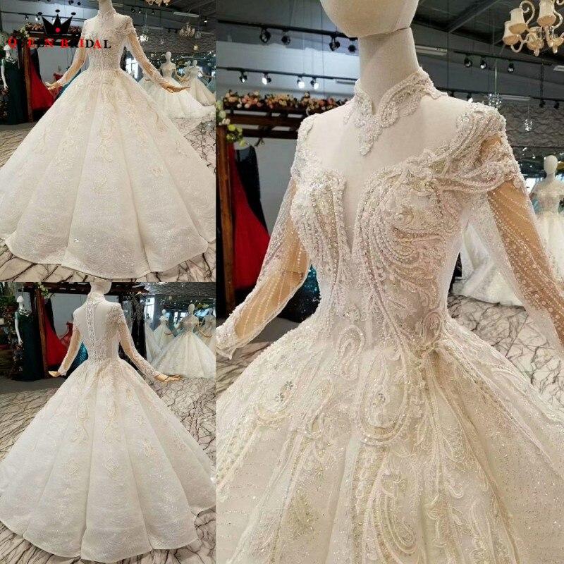 فستان زفاف مخصص بياقة عالية وأكمام طويلة ، طقم أنيق على شكل حرف A ، مقاس كوين ، WD42 ، 2021