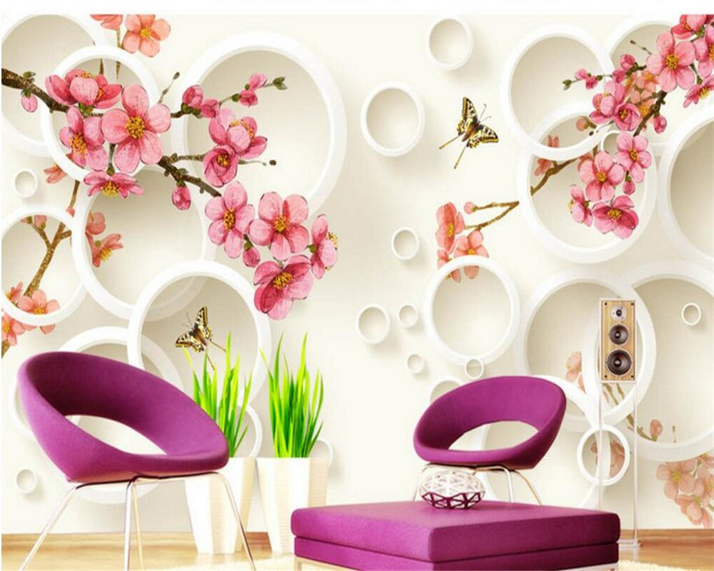 Papel pintado personalizado grande de Beibehang 3D Flor de melocotón círculo 3d sala de estar dormitorio TV pared mural papel tapiz para paredes 3 d