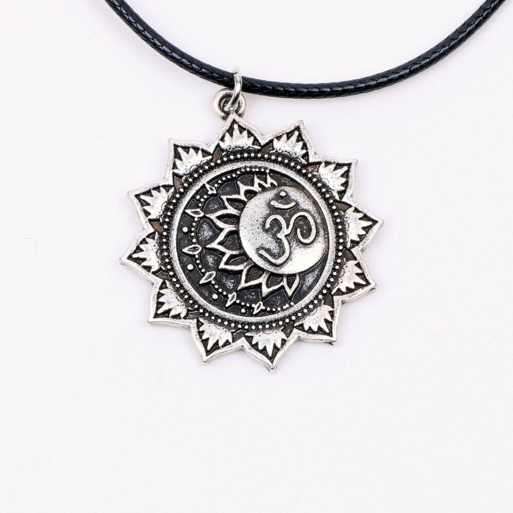 Yoga OM Mandala amuleto Lotus colgante de meditación collar tibetano espiritual buddista símbolo geometría joyería religiosa