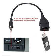 3,5 мм штекер аудио AUX разъем к USB 2,0 Тип A Женский Адаптер конвертера OTG кабель Прямая поставка