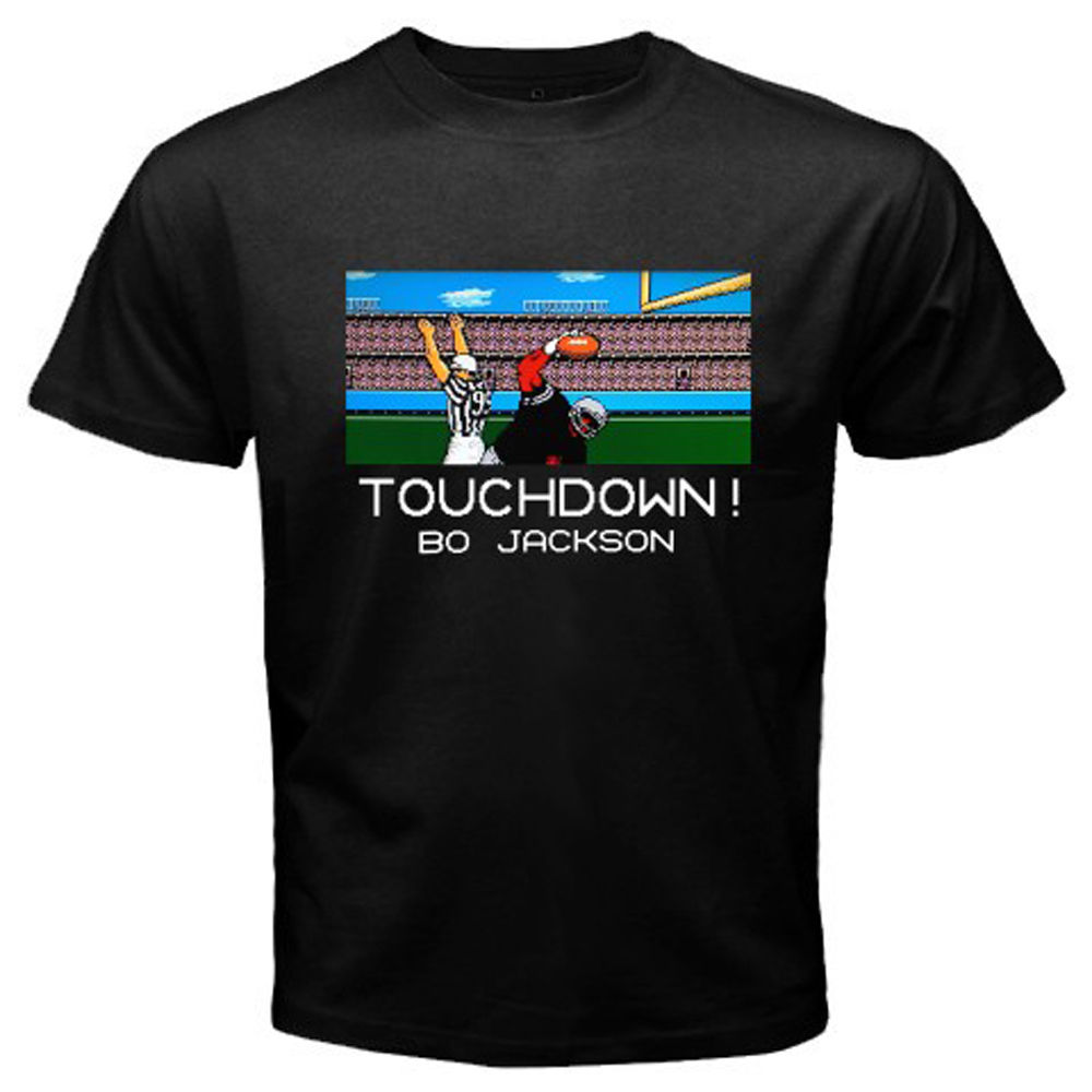 Tecmo Bowl Bo Jackson Retro Classic Video Game MenS Black T Shirt Size S 3Xlcartoon Tee Shirt Homme High Quality Top Tees