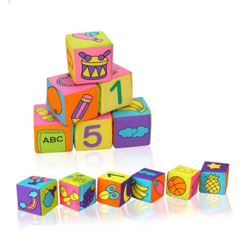Early Educational 6Pcs Fabric Blocks Set of Cloth Cube Multifunctional Preschool Toys Cloth building blocks Baby rattle toy Soft