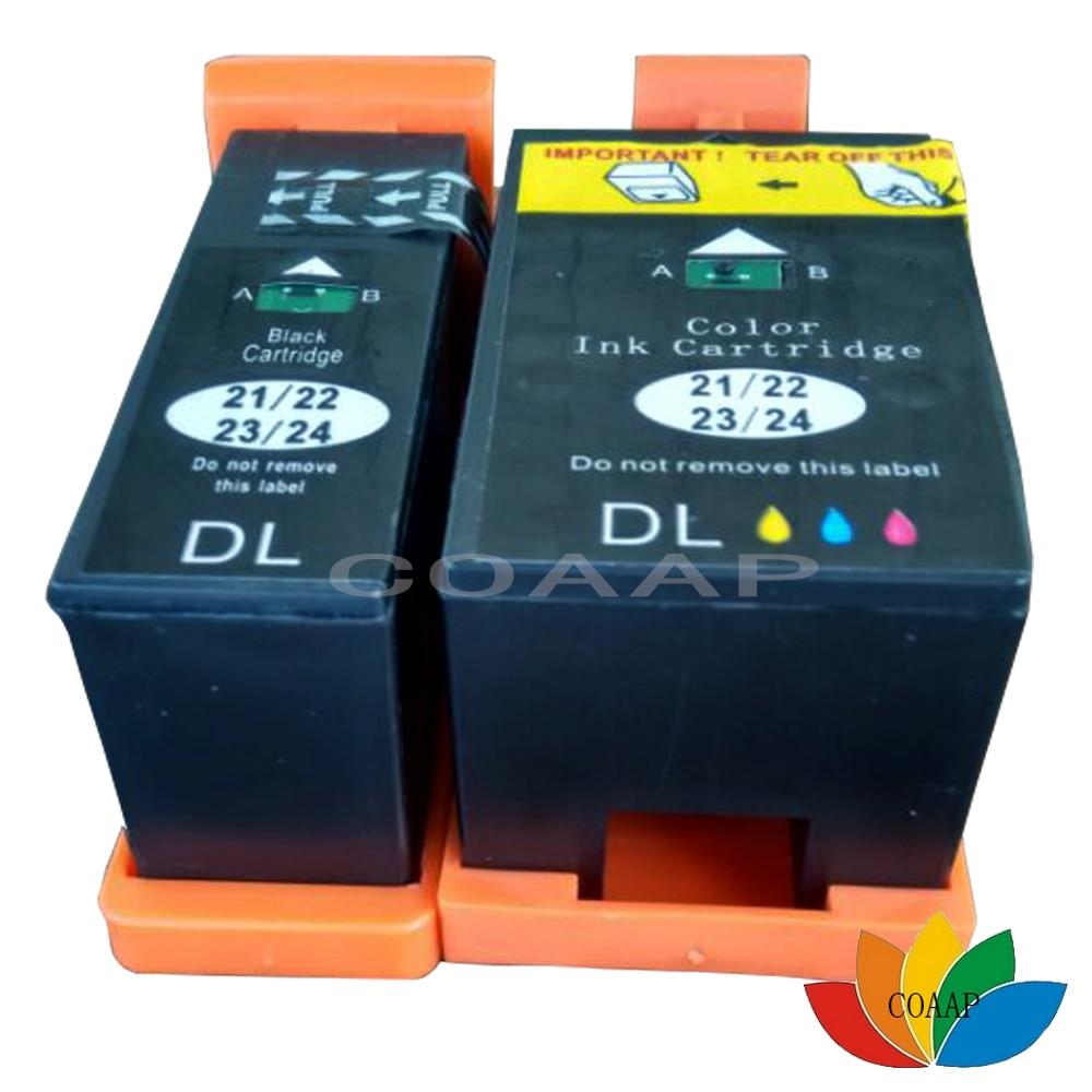 2PK Compatible con Dell 21 22 23 24 Color negro de tinta para Dell Photo P513w V313
